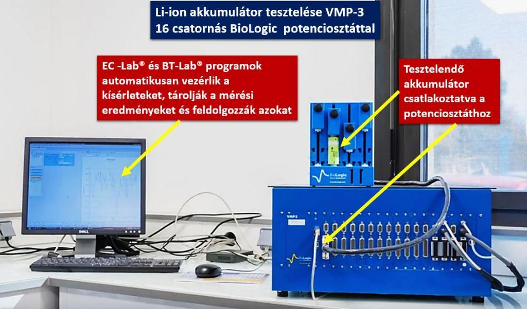 Tesztelés VMP3 Li akkumulátort